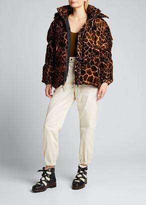 Moncler Kundogi Velvet Giraffe-Print Jacket