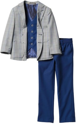 Isaac Mizrahi Plaid Jacket, Solid Vest & Pants (Toddler & Little Boys)