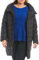 Eileen Fisher Plus Stand Collar Cocoon Coat
