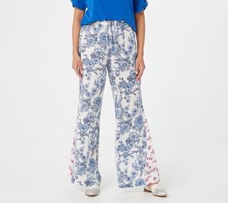 Susan Graver Petite Woven Twin-Print Wide Leg Pants