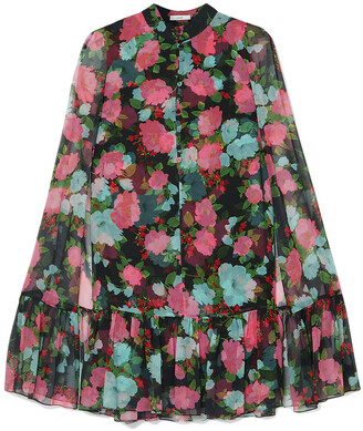 Erdem Constantine Cape-effect Tiered Floral-print Silk-chiffon Mini Dress
