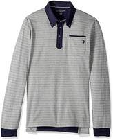 U.S. Polo Assn. Men's Classic Fit Striped Long Sleeve Pique Polo Shirt