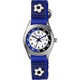 Tikkers Boy's Quartz Watch with White Dial Analogue Display and Blue Fabric And Canvas Strap TK0122