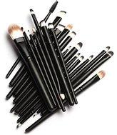 Unimeix 20 Pcs Pro Makeup Set Powder Foundation Eyeshadow Eyeliner Lip Cosmetic Brushes (Black)