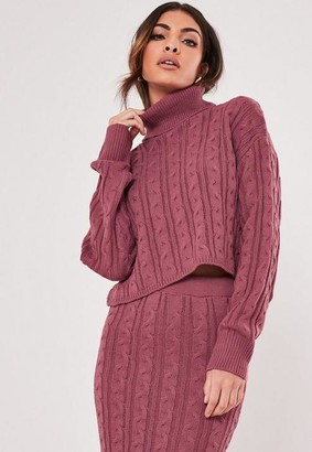Missguided Raspberry Co Ord Cable Knit Crop Sweater