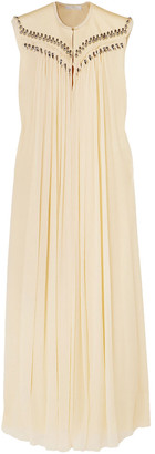 Chloé Embellished Frayed Silk-georgette Gown
