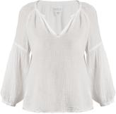 Velvet by Graham & Spencer Octavia raw-hem cotton-gauze top