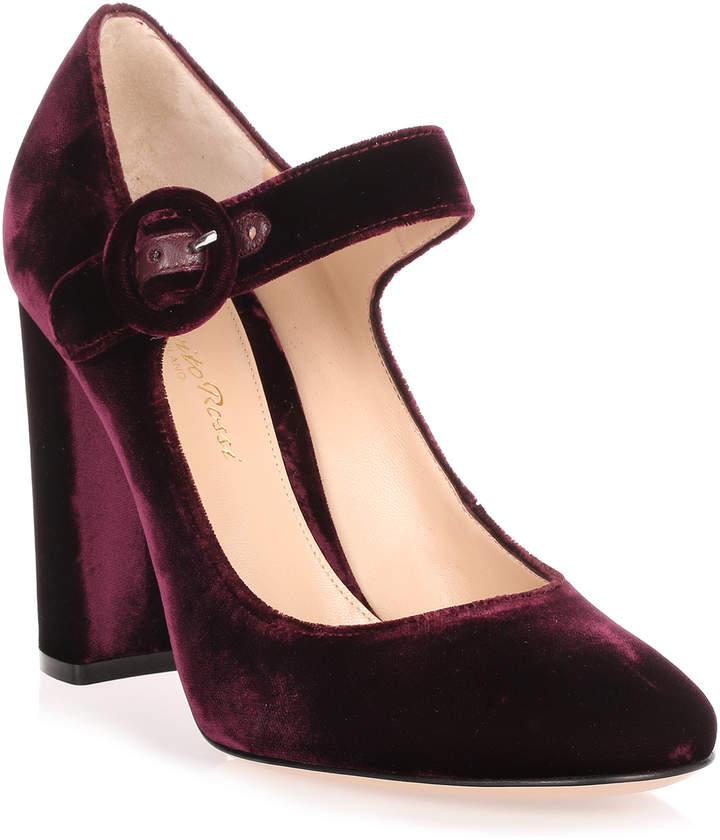 Gianvito Rossi Lorraine burgundy velvet pump