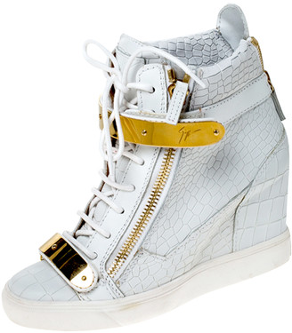 Giuseppe Zanotti White Croc Embossed Leather High Top Wedge Sneakers Size 38