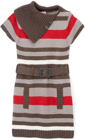 Pink Angel Red Stripe Belted Split-Neck Dress - Infant Toddler & Girls