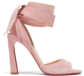 Christian Louboutin Rose Amelie 100 Wraparound Suede Peep-toe Sandals - Light Pink
