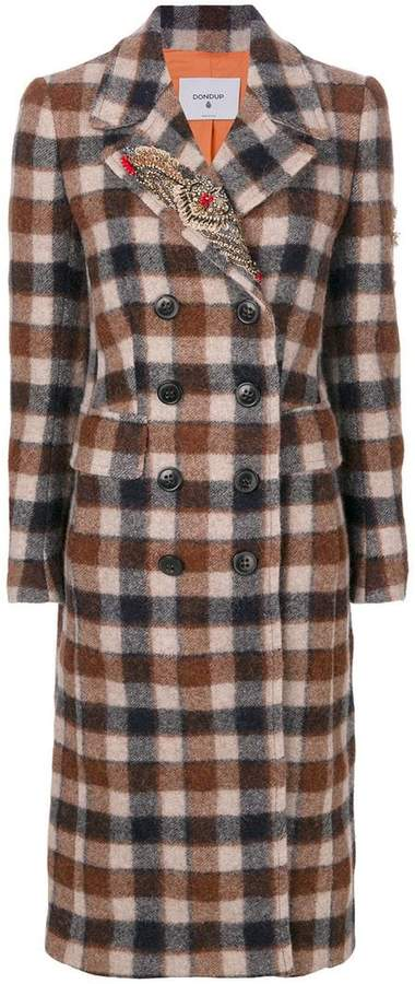 Dondup plaid double breasted coat