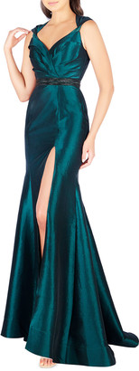 Mac Duggal Sweetheart Sleeveless Taffeta Gown with Embellished Waist