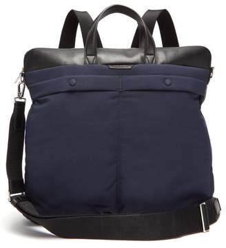 Paul Smith Padded Nylon And Leather Backpack - Mens - Blue