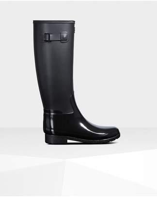Hunter Womens Refined Slim Fit Gloss Duo Tall Rain Boots