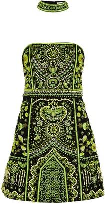 Alice + Olivia Paige embellished satin-twill mini dress
