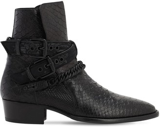 Amiri Python Embossed Buckle Leather Boots