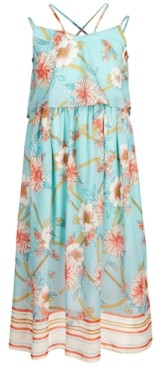 Bonnie Jean Big Girls Floral-Print Popover Maxi Dress