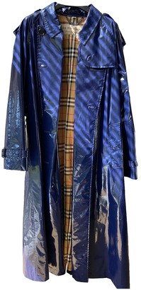 Burberry Navy Cotton Trench Coat for Women