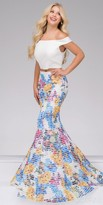 Jovani Two Piece Off the Shoulder Floral Mermaid Prom Dress