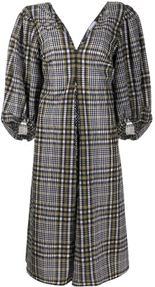 Ganni Check-Pattern Shift Dress