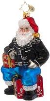 Christopher Radko Glass Tough As Nick Biker Santa Christmas Ornament