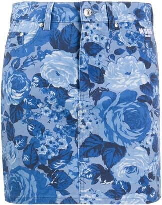 MSGM Rose-Print Denim Skirt