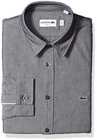 Lacoste Men's Long Sleeve Button Down Solid Pique Slim Fit