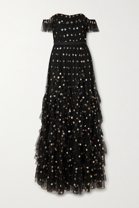 Marchesa Notte Off-the-shoulder Ruffled Polka-dot Sequined Tulle Gown - Black