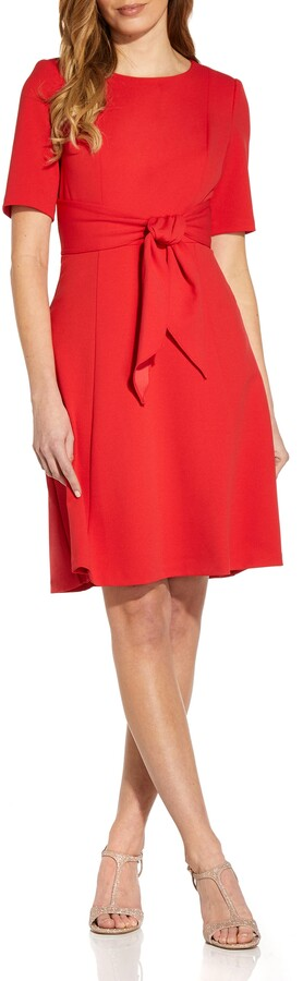 Thumbnail for your product : Adrianna Papell Tie Front Fit & Flare Crepe Dress