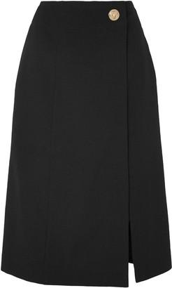 Givenchy Wrap-effect Grain De Poudre Wool Midi Skirt