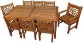 Regal Teak Lea Chippendale Table & Chair Set, Teak