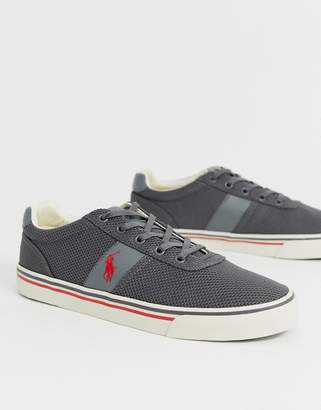 Polo Ralph Lauren mesh hanford trainers in grey with multi player logo