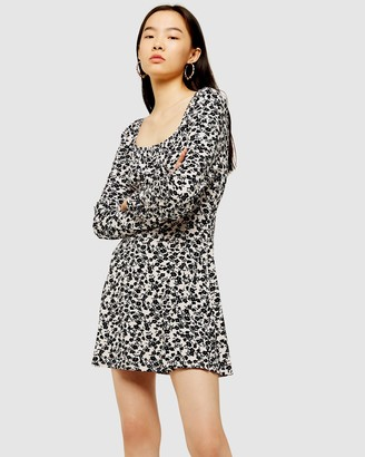 Topshop Floral Blouson Mini Dress