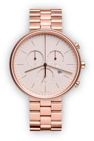 Uniform Wares M40 Women's chronograph watch in PVD rose gold with grey textured calf leather strap
