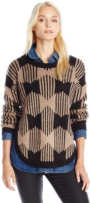 Olive + Oak Olive & Oak Women's Zip Zag Printed Crew Neck Sweater