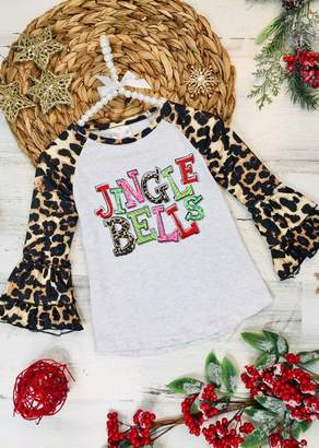 "Mia Belle Baby \""Jingle Bells\"" Leopard Raglan Sleeve Top (Toddler, Little Girls, & Big Girls)"