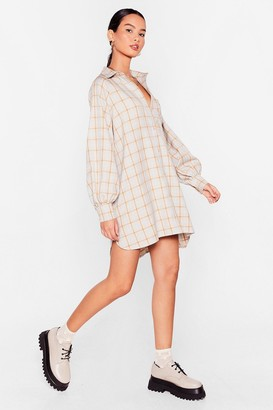 Nasty Gal Womens Checkin' Through Our Notes Oversized Shirt Dress - Beige - 4