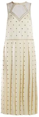Fendi Studded Pleated Satin Midi Dress - Womens - Ivory