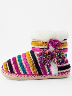 Accessorize Girls Stripe Slipper Boots - Multi