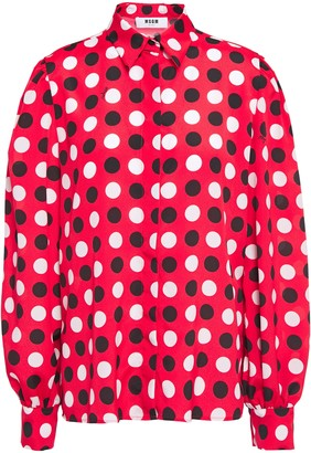 MSGM Polka-dot Crepe De Chine Shirt