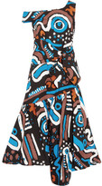 Isa Arfen Asymmetric Ruffled Printed Cotton-blend Dress - Blue