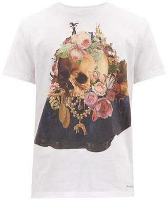 Alexander McQueen Still Life Skull-print Cotton T-shirt - Mens - White Multi