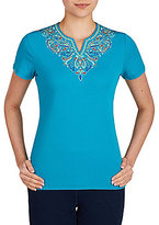Allison Daley Embellished Notch V-Neck Solid Knit Top