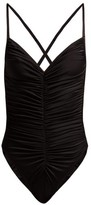 Norma Kamali Butterfly Mio Ruched Swimsuit - Womens - Black