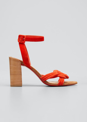 Christian Louboutin 85mm Ella Velour Red Sole Ankle-Strap Sandals