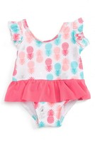 Infant Girl's Sol Swim Sugar Pineapples Skirted One-Piece Swimsuit