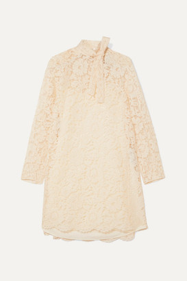 Valentino Pussy-bow Corded Lace, Tulle And Crepe De Chine Mini Dress - Ivory