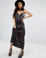 Motel Athur Maxi Cami Overlay Slip Dress In Floral Print