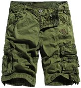 RUAYE Men's Cotton Loose Fit Multi Pocket Cargo Shorts